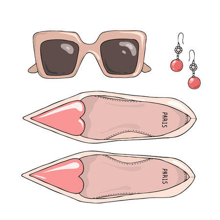 Fashion women shoes with sunglasses and earrings Illustration