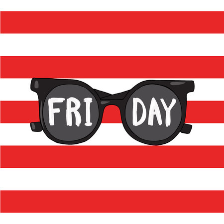Sunglasses on a red striped background with words Friday.