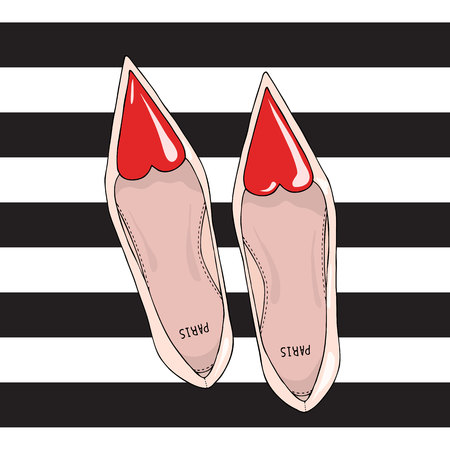 girlish: Shoes with a narrow nose and a red heart on top. On the striped background. Illustration