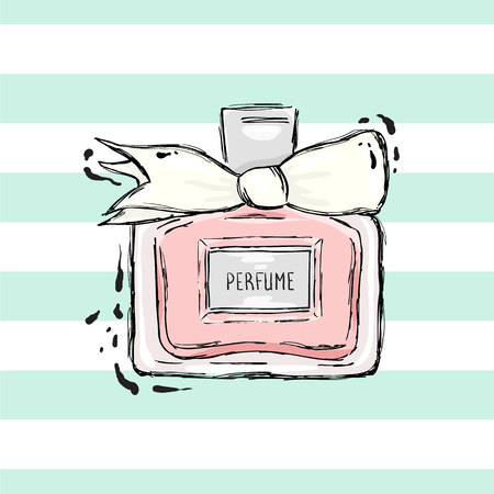 Perfume bottle pink with white bow.