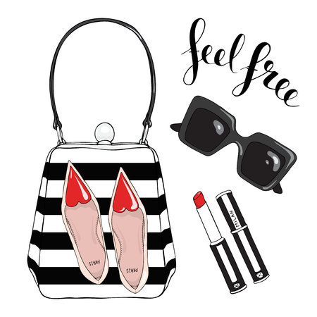 Bag with a picture of shoes, glasses, lipstick on a white background with the inscription feel free. Illustration
