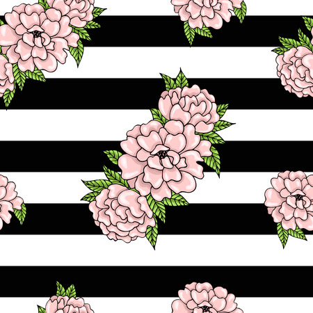pink and black: Floral pattern of pink peonies with leaves on a striped background. Illustration