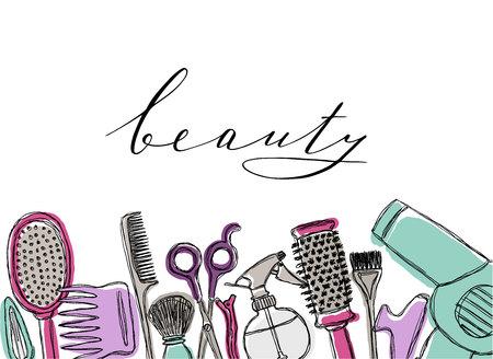 Hand drawn cosmetics set. Beauty and makeup.