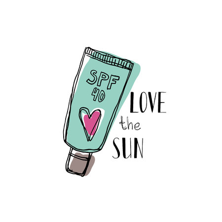 A tube of sunscreen with a motivational quote Love the sun. On white background. Lettering.