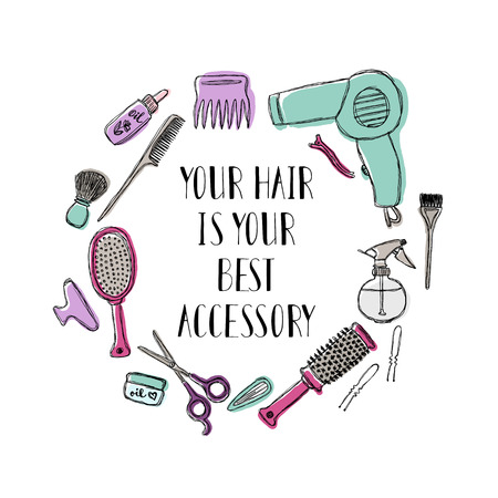 Accessories for the hairdresser. Motivational quote Your hair is your best accessory. Vector illustration.