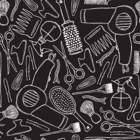 Seamless black-and-white pattern with hairdressers tools.