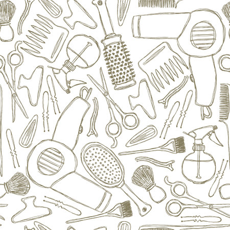 Seamless black-and-white pattern with hairdressers tools. Ilustração Vetorial