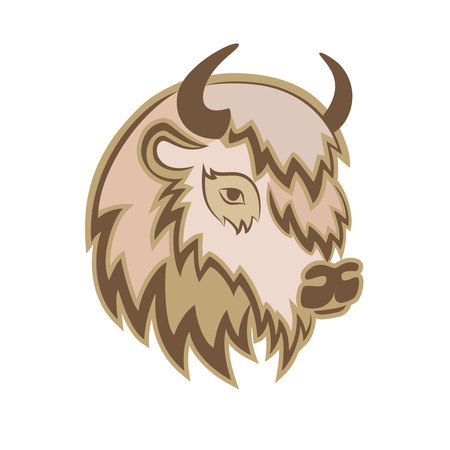 Stylized head of a Buffalo with the horns on the side. Vector illustration.