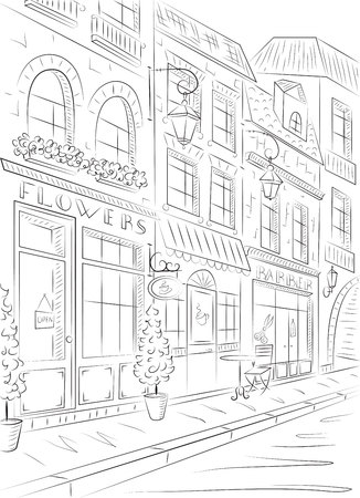 Old town, street with old buildings, cafes. Black and white drawing. Illusztráció
