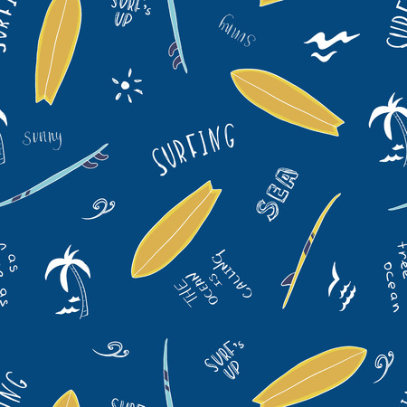 Pattern, seamless texture of blue surfboards with the words. Lettering. On white background. Hand drawn illustration. For textile, wallpaper, fabric etc.