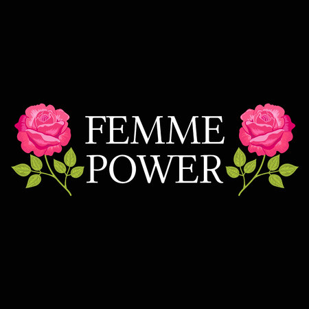 Femme Power, Slogan graphic with vector illustration, for t-shirt prints. Çizim