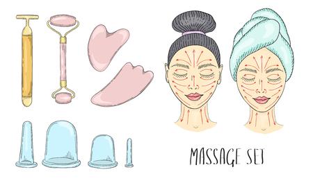 Das Gesicht des Mädchens mit geschlossenen Augen und gezogenen Massagelinien, das auf die Creme aufgetragen wird und die Gesichtsmassage erfolgt. Werkzeuge für die Massage. Vektorfarbillustration von Hand gezeichnet. Vektorgrafik