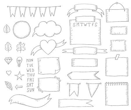 Bullet Journal handgezeichnete Elemente für Notebook. Handgezeichnete Doodle-Elemente isoliert auf weiss.