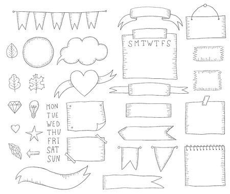 Bullet journal hand drawn elements for notebook. Hand drawn doodle elements isolated on white.