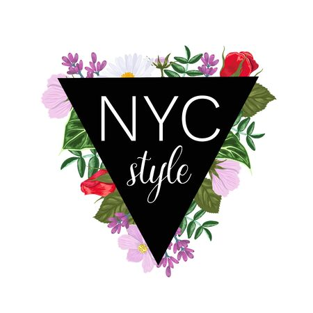 Print on a t-shirt with a triangle of flowers and leaves and the inscription NYC.
