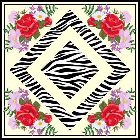Design for a square shawl or headscarf. Zebra print with flowers on beige background.