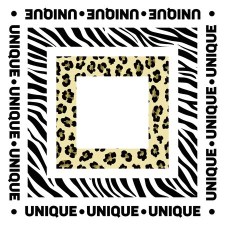 Design for a square shawl or headscarf. Zebra and leopard print with slogan Unique on white background. Stock Illustratie