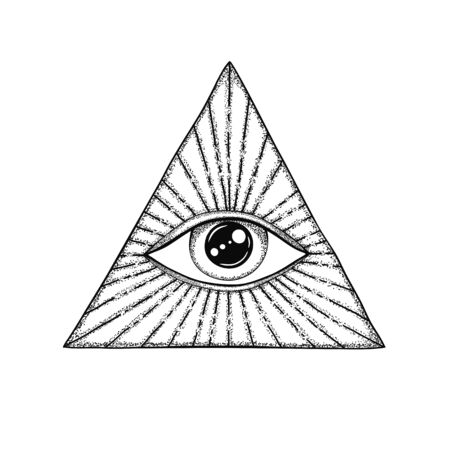 The Eye of Providence. Masonic symbol. All seeing eye in triangle with divergent rays. Black tattoo.