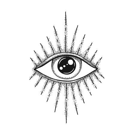 L'oeil de la Providence. Symbole maçonnique. Tous voyant avec des rayons divergents. Tatouage noir. Vecteurs