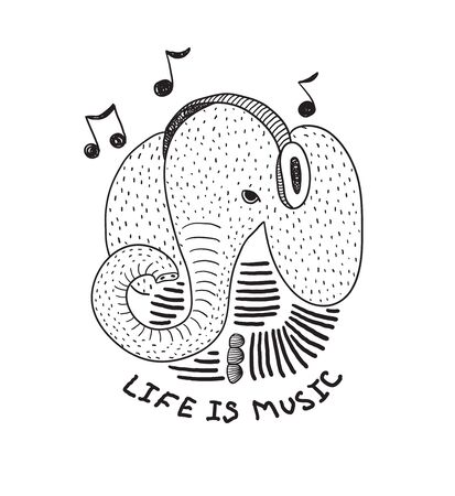 The character is a stylized elephant with headphones and the inscription Life is music. Black and white illustration for t-shirts and other merch. Notes. Banque d'images - 141672166