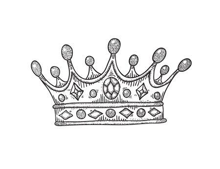 Dessin d'une couronne avec des pierres vectoriel. Illustration en noir et blanc. Vecteurs