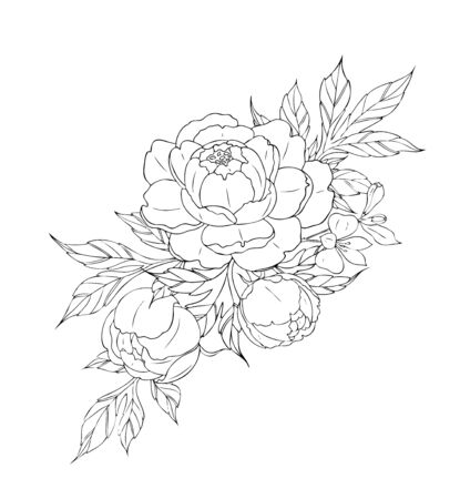 Peony flowers and leaves, tattoo compositions. Black linear illustration isolated on a white background. Vektorgrafik