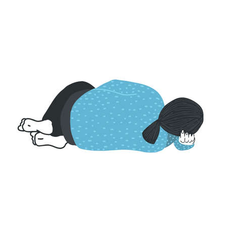 The girl is lying on her side, her hand under her head, her knees bent. Depression, bad mood, closeness from people.