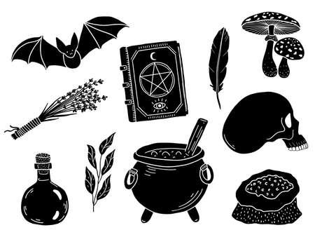 Vector magic set. Hand drawn black doodle elements.