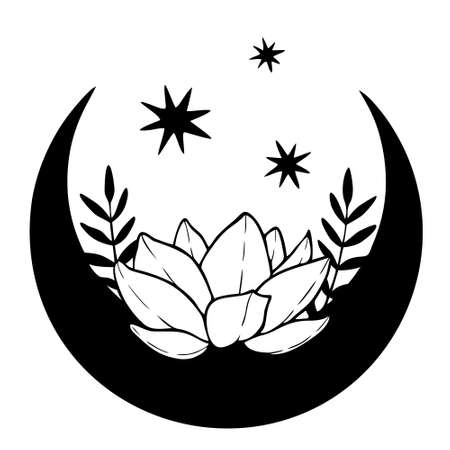 Magic black moon with stars and lotus on white background.