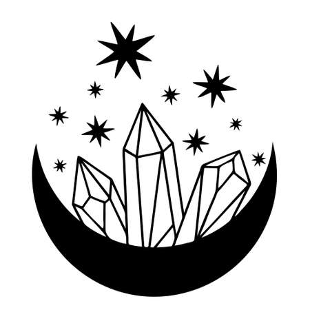 Magic black moon with stars and crystals on white background.