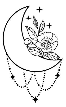 Magic moon with stars, chains and flowers on white background.