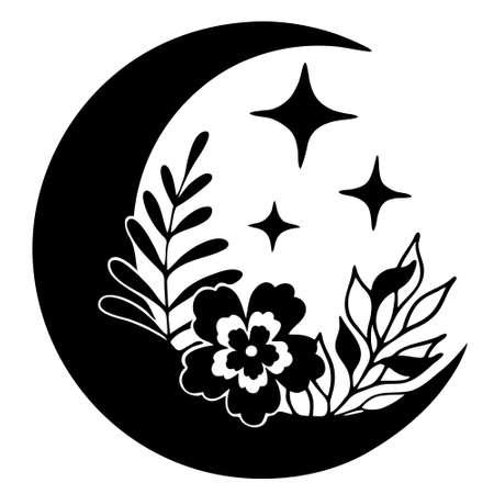Magic moon with stars and flowers on white background. Ilustração Vetorial