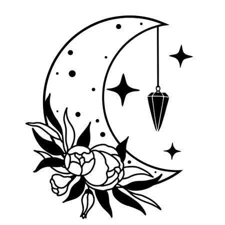 Magic moon with stars, pendulum and flowers on white background. Ilustração Vetorial