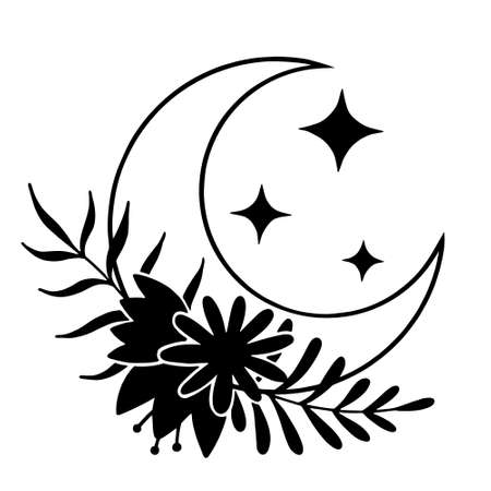 Magic moon with stars and flowers on white background.