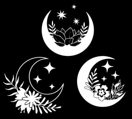 Set of magic white moons with stars and flowers on black background. Ilustração Vetorial