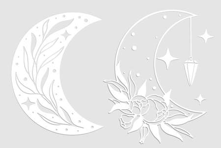Set of magic white moons with stars and flowers on gray background.