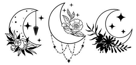 Set of magic black moons with stars and flowers on white background. Ilustração Vetorial