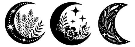 Set of magic black moons with stars and flowers on white background.