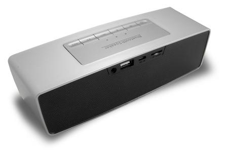 conection: Wireless speaker premium quality in grey color. Stereo wireless speaker conection. Minimal and modern design of speaker