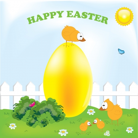 Happy easter  chickens funny for your postcards Vector