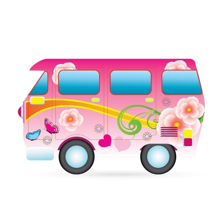 Colorful piece van illustration Technology and Ecological Transport Vector