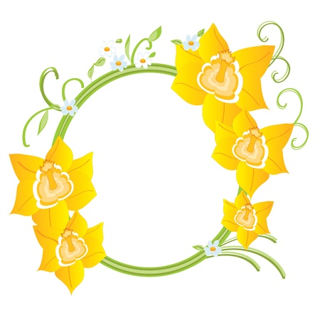 daffodils: Frame with daffodils beautiful illustration for your