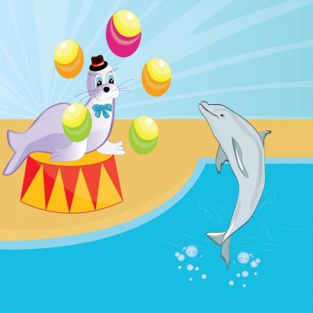 서커스 아기의 아름다운 그림에서 물개와 돌고래 쇼