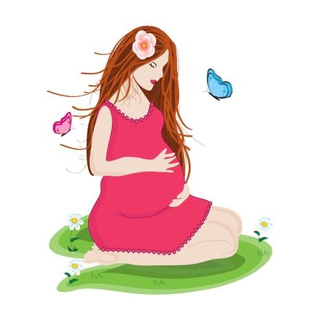 moeder met baby: Mooie jonge en gelukkige zwangere vrouw in roze jurk voorbereid om moeder Stock Illustratie