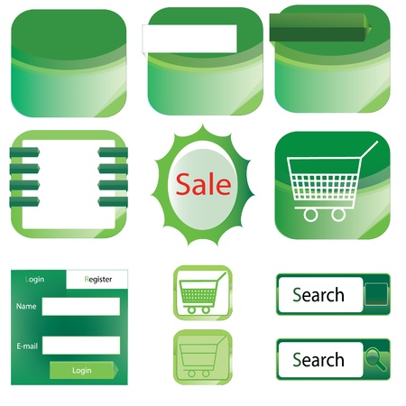 vector Web elements collection 1 with green color  Vector