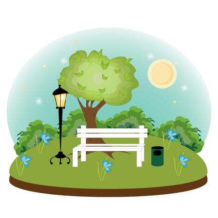 afterglow: Warm summer night park .vector illustration. Illustration