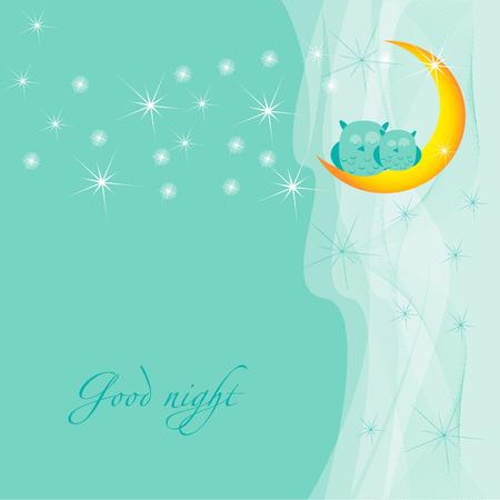 dreamlike: Good night .Card with sleeping owls. Illustration
