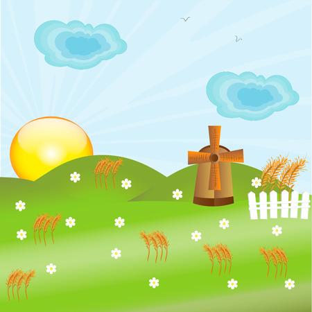 autumnal: mill building and autumnal landscape Illustration