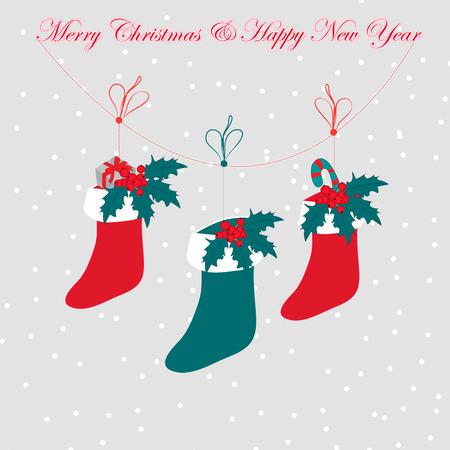 botas de navidad: botas de navidad, ilustración vectorial. Hermosa ilustración con fondo gris. Vectores