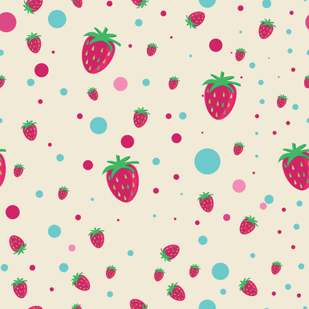 strawberrys: seamless background with strawberrys and circles elements. Illustration
